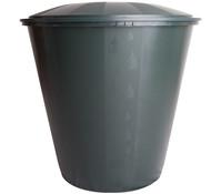 Kunststoff-Regentonne mit Deckel, rund, dunkelgrün