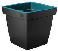 Kunststoff-Topf mit farbigem Rand, quadratisch, 40 x 40 x 35 cm