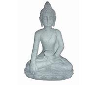 Leichtbeton-Buddha sitzend, granit, 33 x 24 x 49 cm