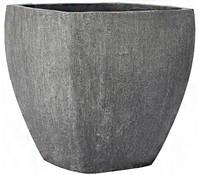 Leichtbeton-Topf, eckig, grau