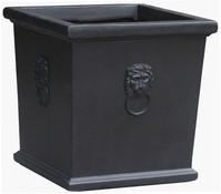 Leichtbeton-Topf Windsor, quadratisch, schwarz