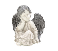 Polyresin-Engel, sand/beige, 21 x 18,5 x 19 cm