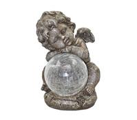 Polyresin-Engelfigur mit Solarkugel, sitzend