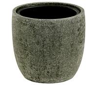 Polyresin-Pflanztopf, rund, rock-grau