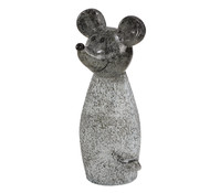 Polyresin-Zaunfigur Maus, grau