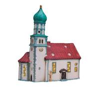 Porzellan Weihnachtskirche in Wasserburg/Bodensee, 24 cm hoch