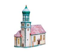 Porzellan Windlicht Kirche in Wasserburg, 24 x 19 x 12 cm