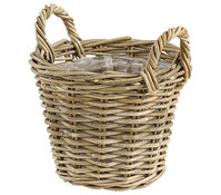 Rattan-Korb mit Henkeln, rund, grau-braun