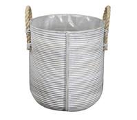 Rattan-Korb mit Henkeln, rund, weiß-grau