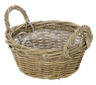 Rattan-Schale mit Henkeln, rund, braun