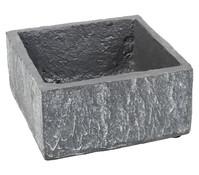 Schale in Stein-Optik, eckig, grau, 8 x 17 x 17 cm