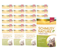Schmusy Nature Vollwert-Flakes in Sauce, Nassfutter, 22 x 100g