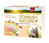 Schmusy Nature Vollwert-Flakes in Sauce, Nassfutter, Multibox, 12 x 100g