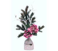 Seidenblumen-Arrangement Magnolie in Vase