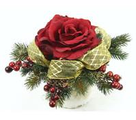 Seidenblumen-Gesteck mit Rosen und Beeren