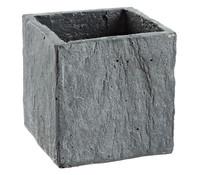 Slate Sand-Zement Pflanzgefäß, eckig, grau