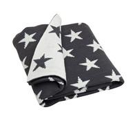 Tagesdecke gestrickt mit Sternenmuster in grau, 127 x 152 cm