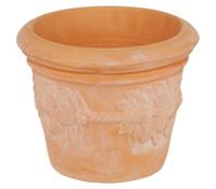 Terrakotta-Blumentopf Citrus, rund, terrakotta-antik-weiß