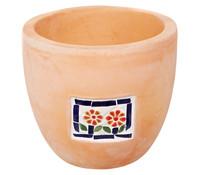 Terrakotta-Pflanztopf mit Mosaik-Dekor, rund