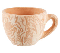 Terrakotta-Tasse rund, terrakotta-weiß-antik, 25 x 20 x 15 cm