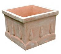 Terrakotta-Topf mit Baumdekor, quadratisch