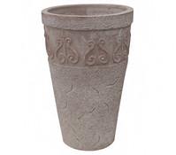Terrakotta-Vase mit Dekor, rund