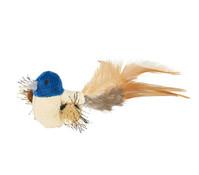 Trixie Katzenspielzeug Plüschvogel mit Federn