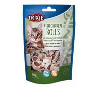 Trixie Premio Fish Chicken Rolls, Katzensnack, 50 g