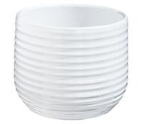 Übertopf aus Keramik, weiß, rund