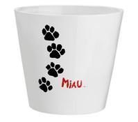 Übertopf Miau für Katzengras, weiß, Ø 12 cm