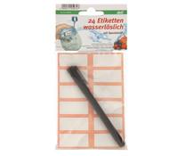 Wasserlösliches Etikett mit Stift