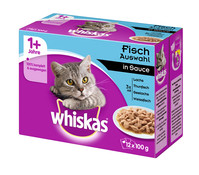 Whiskas® 1+ Fischauswahl in Sauce, Multipack, 12 x 100 g