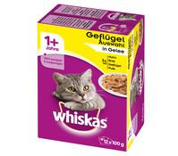 Whiskas® 1+ Geflügelauswahl in Gelee, Nassfutter, 12x100g