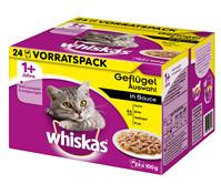 Whiskas® 1+ Geflügelauswahl in Sauce, Nassfutter, 24 x 100g