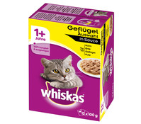 Whiskas® Geflügelauswahl in Sauce, Nassfutter, 12x100g