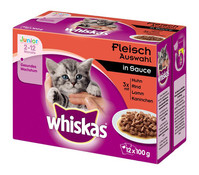Whiskas® Junior Fleischauswahl in Sauce, Nassfutter, 12 x 100g
