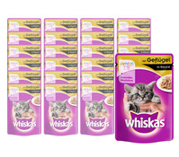 Whiskas® Junior Geflügel in Sauce, Nassfutter, 24x100 g