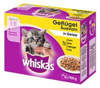 Whiskas® Junior Geflügelauswahl in Gelee, Nassfutter, 12x100g