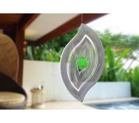 Windspiel Wellenblatt mit grüner Kugel