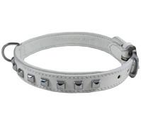Wouapy Hundehalsband Leder + quadratische Nieten, 20mm/45cm
