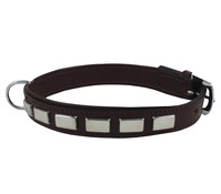 Wouapy Hundehalsband Leder + rechteckige Nieten, 20mm/50cm