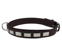 Wouapy Hundehalsband Leder + rechteckige Nieten, 25mm/55cm