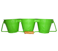 Zink-Blumentopf Trio mit Holzgriff, Ø 13 cm