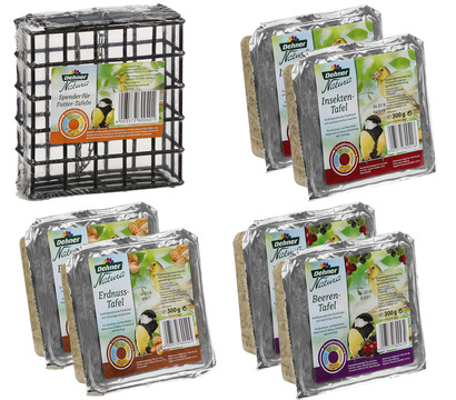 Dehner Natura Spender für Futtertafeln mit Tafel-Mix, 7-teilig