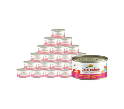 Almo Nature Nassfutter Jelly Lachs & Huhn, 24 x 70g