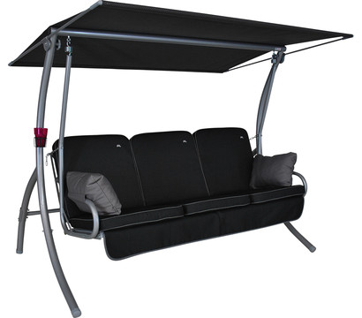 Angerer Hollywoodschaukel Primero Style schwarz, 3-Sitzer
