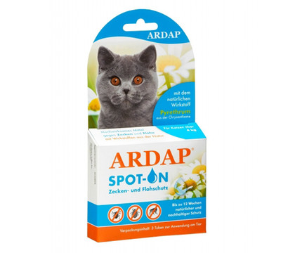 ARDAP® Zecken- und Flohschutz Spot-On für Katzen ab 4kg, 3 x 0,8ml