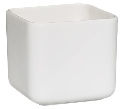 Übertopf aus Keramik, eckig, weiß