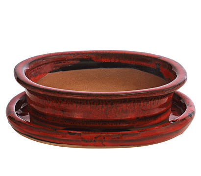 Bonsaikeramik, rot, oval