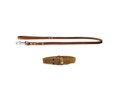 Das Lederband Halsband/Leinen-Set Basic Weinheim Kastanie
